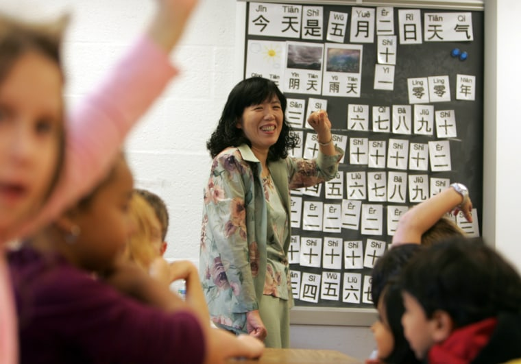 Chinese language teacher Grace Yuan teaches a class at Providence Elementary School in Fairfax, Va.,in May. The class is a direct result of the National Security Language Initiative, introduced by President Bush in 2006 to teach the youngest students Chinese and other foreign languages critical to the nation's future security.