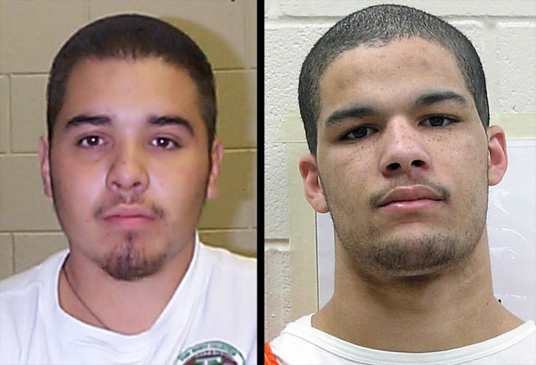 Convicted murderer Edward Salas, far left, and Larry McClendon, who has been charged with murder in a separate case, are among the escapees from the Curry County jail in Clovis, N.M.