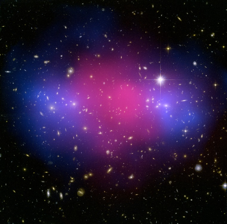 This clash of clusters provides further evidence for dark matter. Ordinary matter, mostly in the form of hot gas, glows brightly in X-rays (shown in pink) and was slowed down by the collision. But dark matter (shown in blue) passed right through. Click on the image for a larger version.
