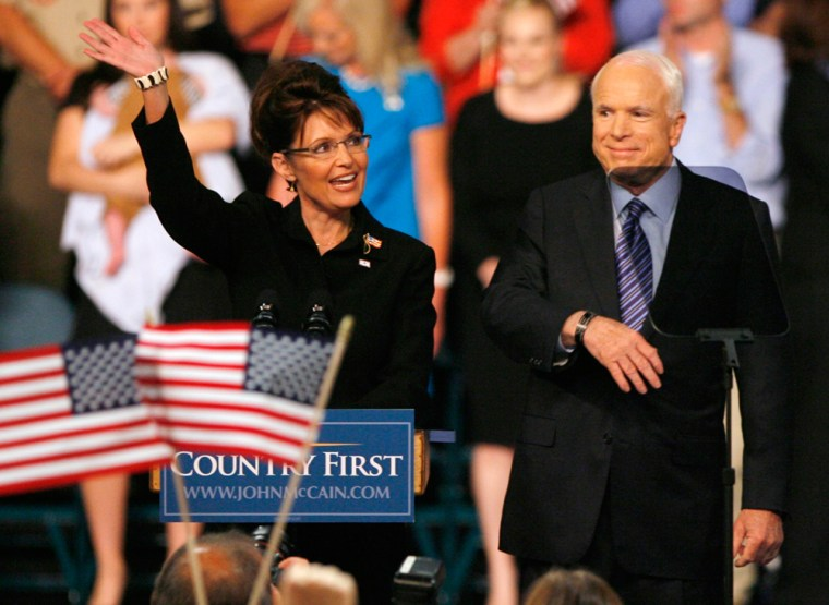Image: Senator John McCain and Alaska Governor Sarah Palin