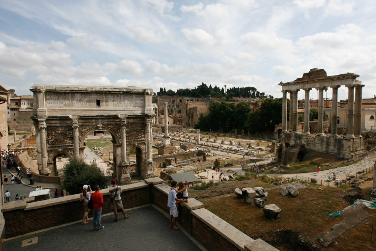 A general view of the Roman Forum is shown in Rome.