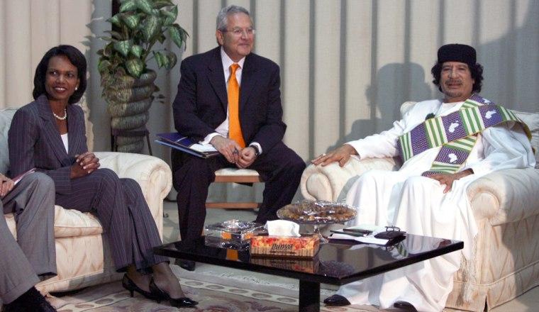 Image: Condoleezza Rice, Moammar Gadhafi