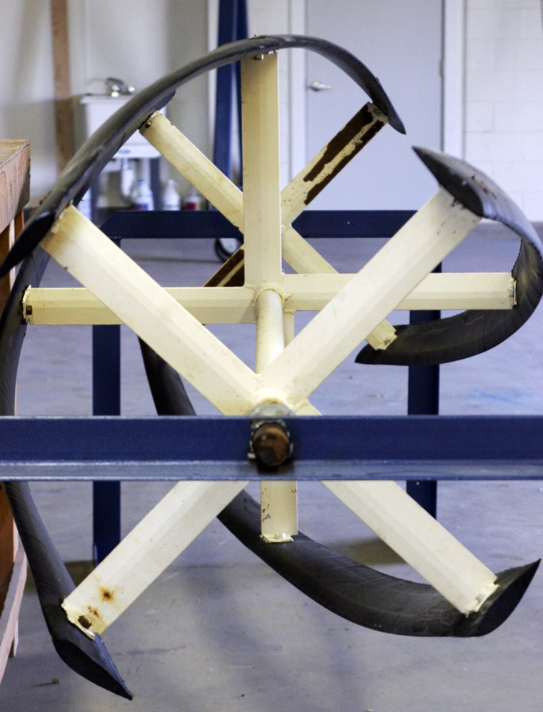 Thisturbine prototype for a tidal power project is among those tested in Eastport, Maine.