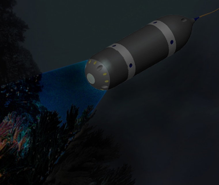 Artist's impression of the remote-controlled submersible investigating an underwater environment. Credit: ÅSTC, Uppsala University