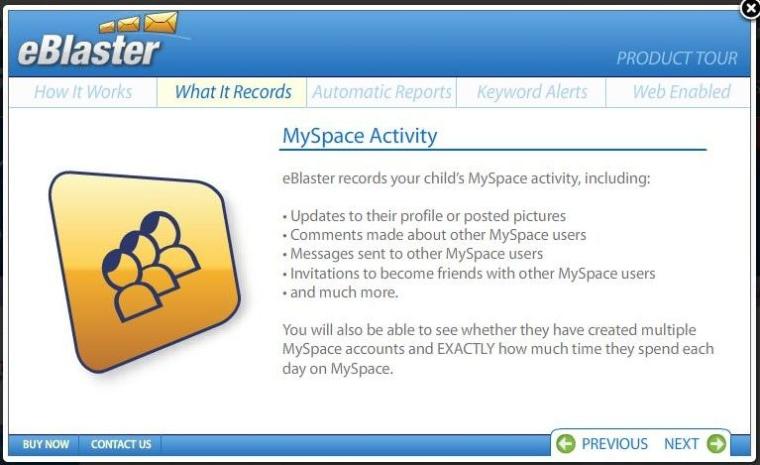 Image: eBlaster describing MySpace monitoring