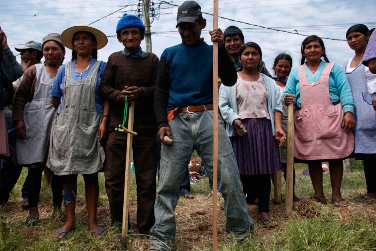 Image: Supporters of Bolivia's President  Evo Morales hold sticks and stones as they stand guard at a road blockade