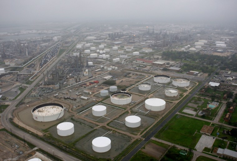 Image: The Marathon oil refinery is shown after Hurricane Ike made landfall September 13, 2008 in Texas City, Texas