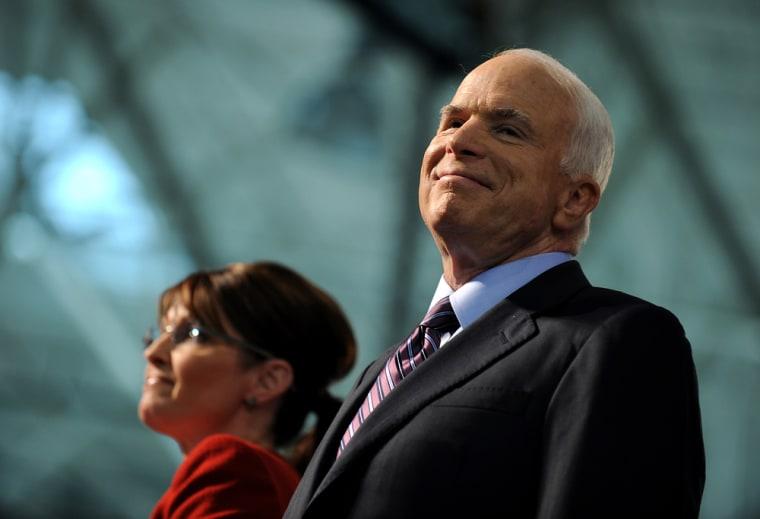 Image: John McCain and his running mate Sarah Palin