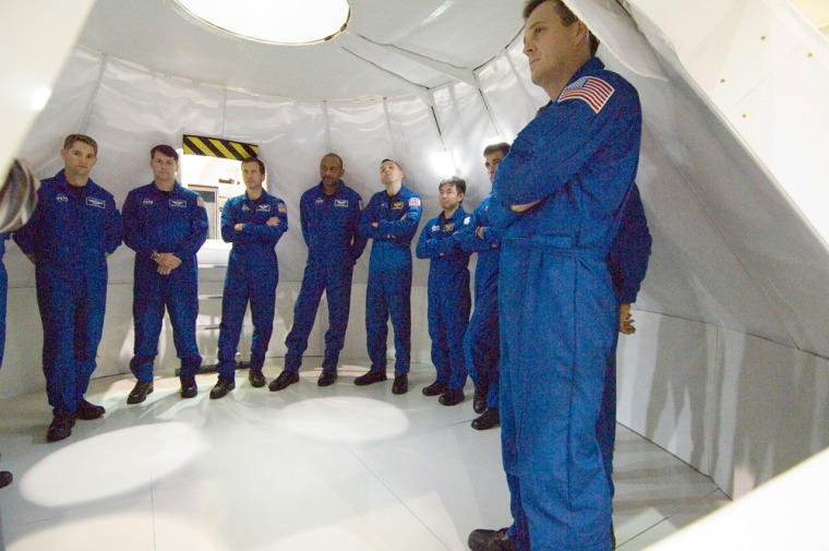 Image: Astronauts in Orion mockup