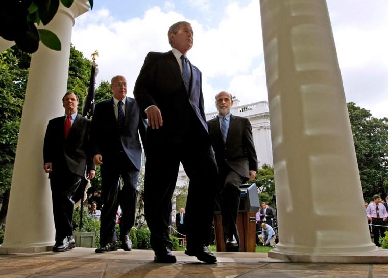 Image: President George W. Bush, Christopher Cox, Ben Bernanke, Henry Paulson