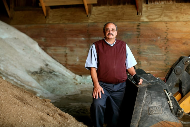 John DiCola Jr., supervisor of Neshannock Township in New Castle, Pa., stands in his road salt storage facility on Thursday. DiCola's lone bid for delivered salt came in at $145 a ton, nearly four times last year's price of $36.90.