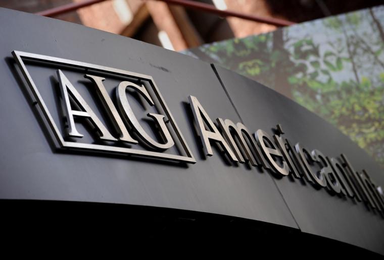 Image: Logo of troubled insurer American International Group Inc