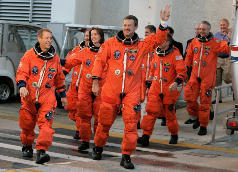 Image: USA Space Shuttle Atlantis Crew Walk Out From O&C at Kennedy Space Center Florida
