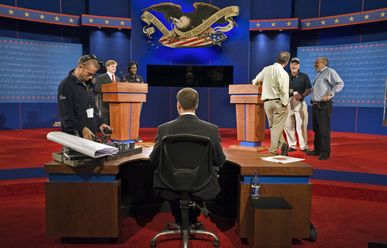 Image: production crews prepare for the debate