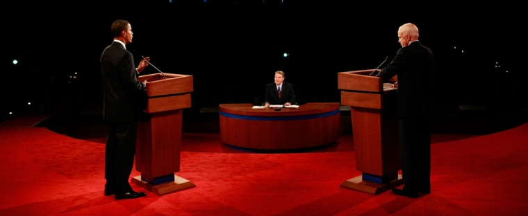 Democratic presidential nominee Sen. Obama and Republican presidential nominee Sen. McCain take part in first presidential debate in Mississippi