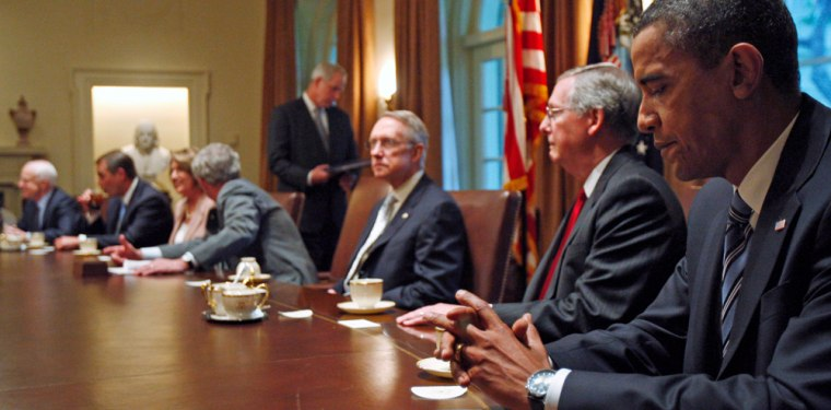 U.S. President George W. Bush meets with Bicameral and Bipartisan Members of Congress in the Cabinet Room at the White House in Washington