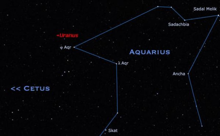 Uranus can be found high in the southern sky after midnight, floating just off the corner of Aquarius.