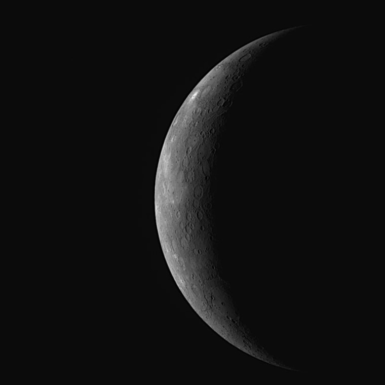 MESSENGER successfully flew by Mercury on Oct. 6, 2008, using Mercury's gravity to help put it on track to become the first spacecraft ever to orbit the innermost planet in the Solar System in March 2011. This image as acquired about 89 minutes before the craft's closest approach.