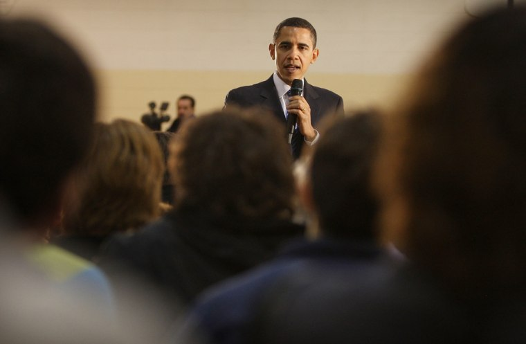 Image: Obama at a town hall in Iowa