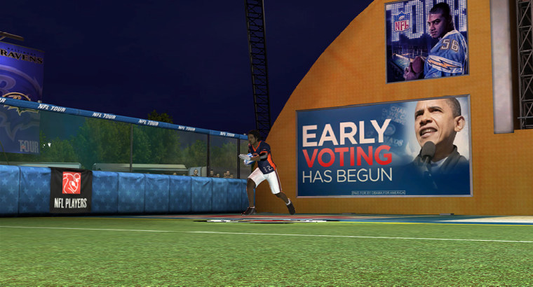 Nine video games from Electronic Arts Inc. feature in-game ads from the Obama campaign.
