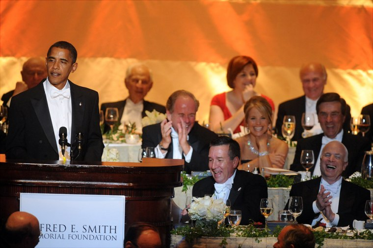 Image: John McCain, right, and Barack Obama attend the annual Al Smith Dinner