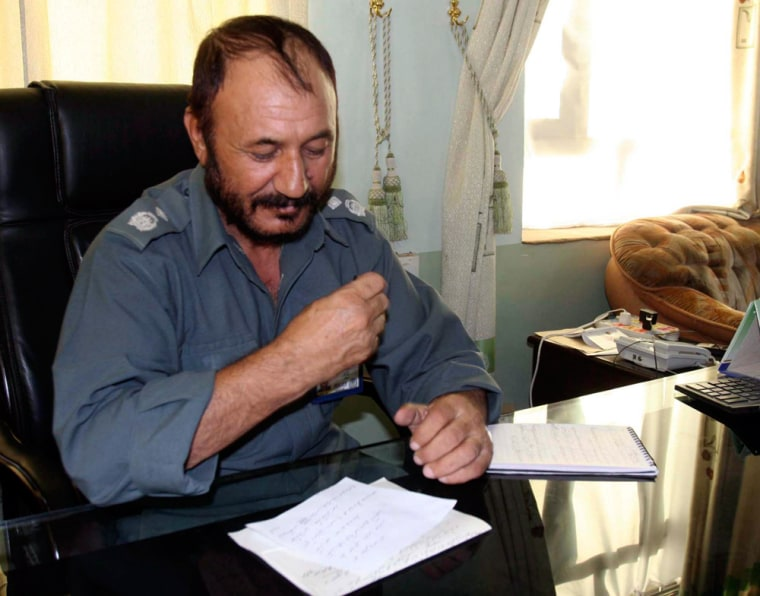 Matiullah Khan,police chiefof Kandahar Province, talks with reporters Sunday about the killings.