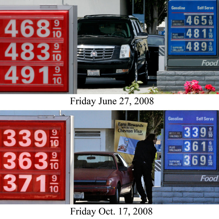 In this combination of 2 photos, gas prices are seen at two adjacent stations in Santa Monica, Calif. on Friday, June 27, 2008, top, and Friday, Oct. 17, 2008.