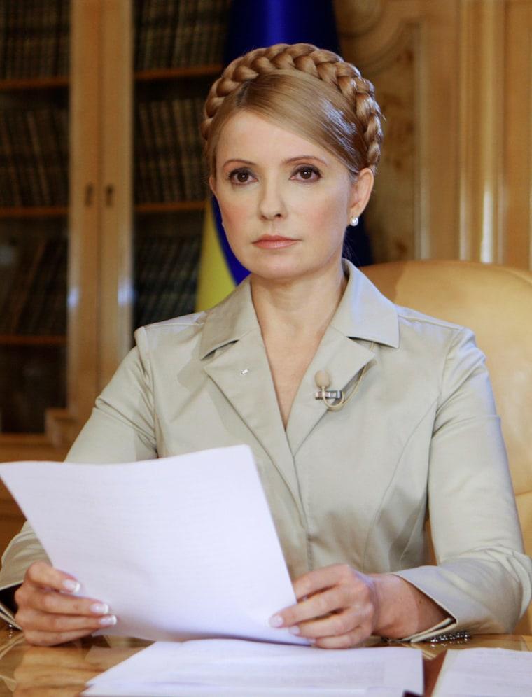Ukraine's PM Tymoshenko speaks during her televised address in Kiev