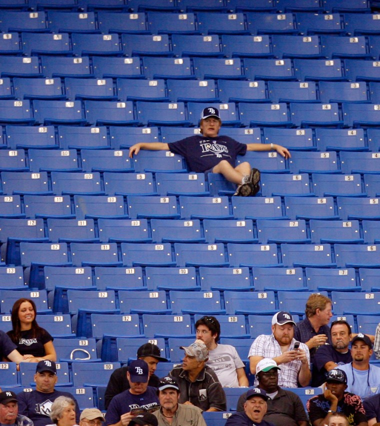 Image: There are empty seats for the Tampa Bay Rays home baseball game against the Minnesota Twins Thursday, Sept. 18, 2008, in St. Petersburg, Fla.