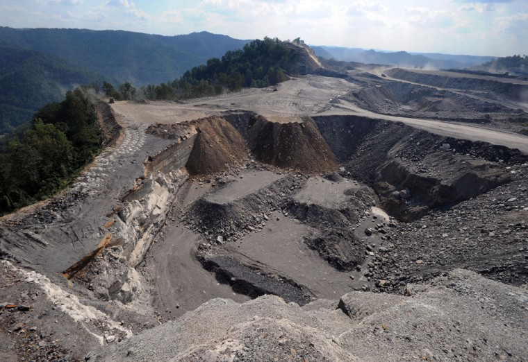 Thismountaintop removal mine is atop Kayford Mountain in West Virginia.