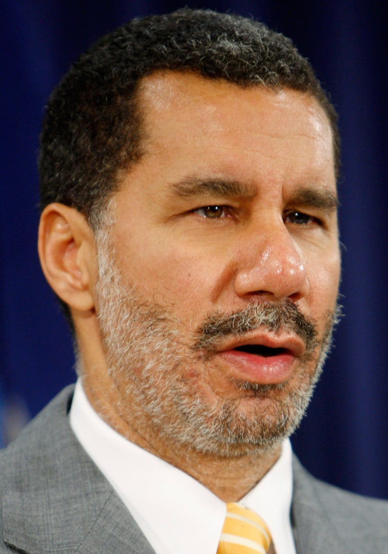 New York Governor David Paterson announces a deal to provide loan assistance to insurer AIG, in New York
