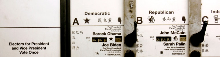 Presidential candidates are listed in English, Spanish and Chinese on the ballot of one of New York's lever-operated mechanical voting machines.
