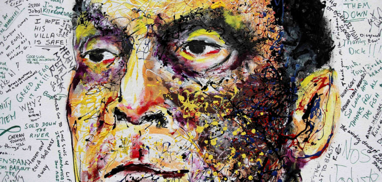 Image: A painting of Lehman Brothers' CEO Richard Fuld is displayed by the artist Geoffrey Raymond
