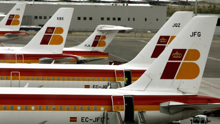 Image: Spanish carrier Iberia's planes on the tarmac in Madrid Barajas airport