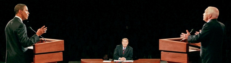 Image: Senator John McCain and Senator Barack Obama stand at their podiums during the first U.S. presidential debate in Oxford, Mississippi