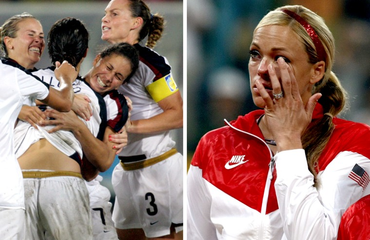 The U.S. women's soccer team celebrates their championship win over Brazil, left. Earlier, softball superstar pitcher Jennie Finch sheds a tear after her team was shocked by Japan in the final.
