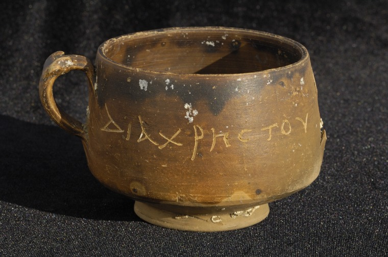 "A bowl, dating to between the late 2nd century B.C. and the early 1st century A.D., is engraved with what may be the world's first known reference to Christ. The engraving reads, ""DIA CHRSTOU O GOISTAIS,"" which has been interpreted to mean either, ""by Christ the magician"" or, ""the magician by Christ."""
