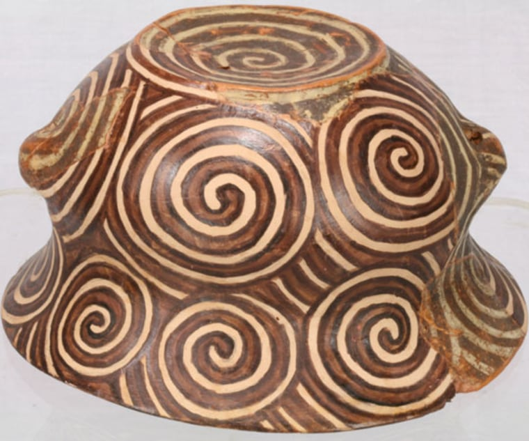 Courtesy of Rosi Fontana/Rossella Lorenzi |   Earliest Op-Art? Little is known about the Cucuteni-Trypillians. Excavation data revealed that they lived in proto-cities in what is now Romania, Ukraine and the Republic of Moldova. Their op-art like pottery, as shown in the piece here, was dominated by repeating lines, circles and spirals.