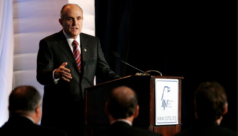 Former New York City Mayor Rudy Giuliani speaks at Republican Jewish Coalition's Victory 2008 candidate forum at the Grand Hyatt Hotel in Washington DC