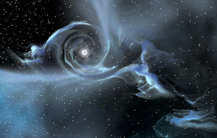 This artist's conception shows gas from a companion star spiraling into the heftiest known solar-mass black hole. The gas heats up and emits X-rays, which allows astronomers to deduce the black hole's presence.