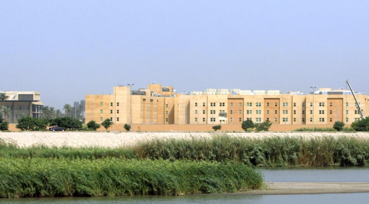 State Department employees posted to the U.S. Embassy in Baghdadlive in apartments, like the ones shown being built on Oct. 11, within what's known as thefortified Green Zone.Many diplomats are protesting a policy that forces assignments to Iraq.