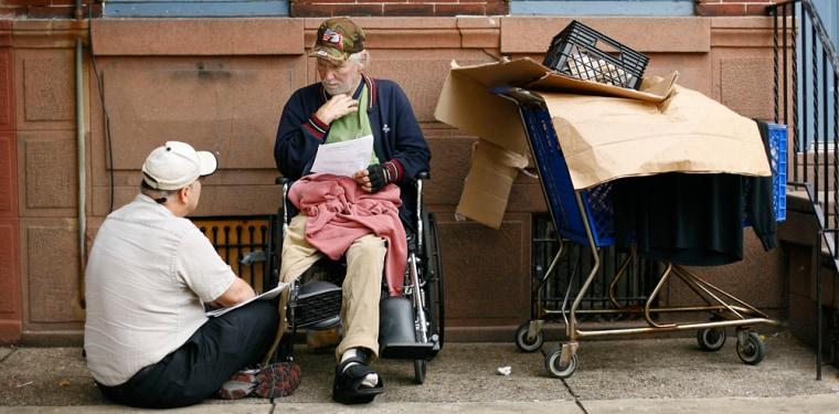Image: Mark Salvatore, left, a homeless outreach nurse with the Veterans Administration talks with homeless Vietnam veteran William Joyce in Philadelphia