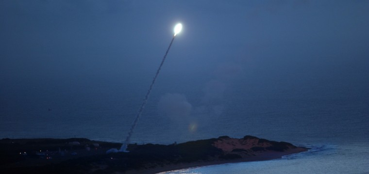 A single-stage missile with a dummy warhead is launched from the Pacific Missile Range Facility in Hawaii on Tuesday night, providing a target for interceptors fired from the Aegis cruiser USS Lake Erie.