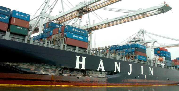 An approximately 90-foot long gash stretches along the hull of the Cosco Busan. Navigating in heavy fog on Wednesday, the vessel struck the Bay Bridge and spilled about 58,000 gallons of oil into the San Francisco Bay.