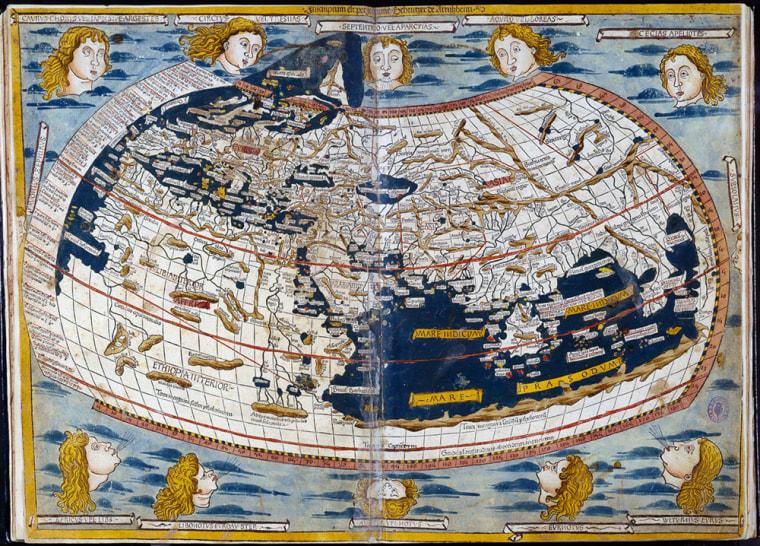 Handout photo of Ptolomeo's 15th century world map