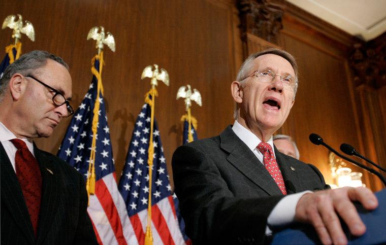 Image: Senate Majority Leader Reid speaks during a news conference in U.S. Capitol in Washington