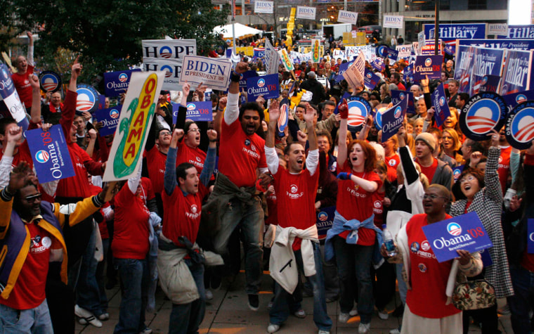 Image: Supporters of presidential candidate Obama chant his name during a pre-rally in Des Moines
