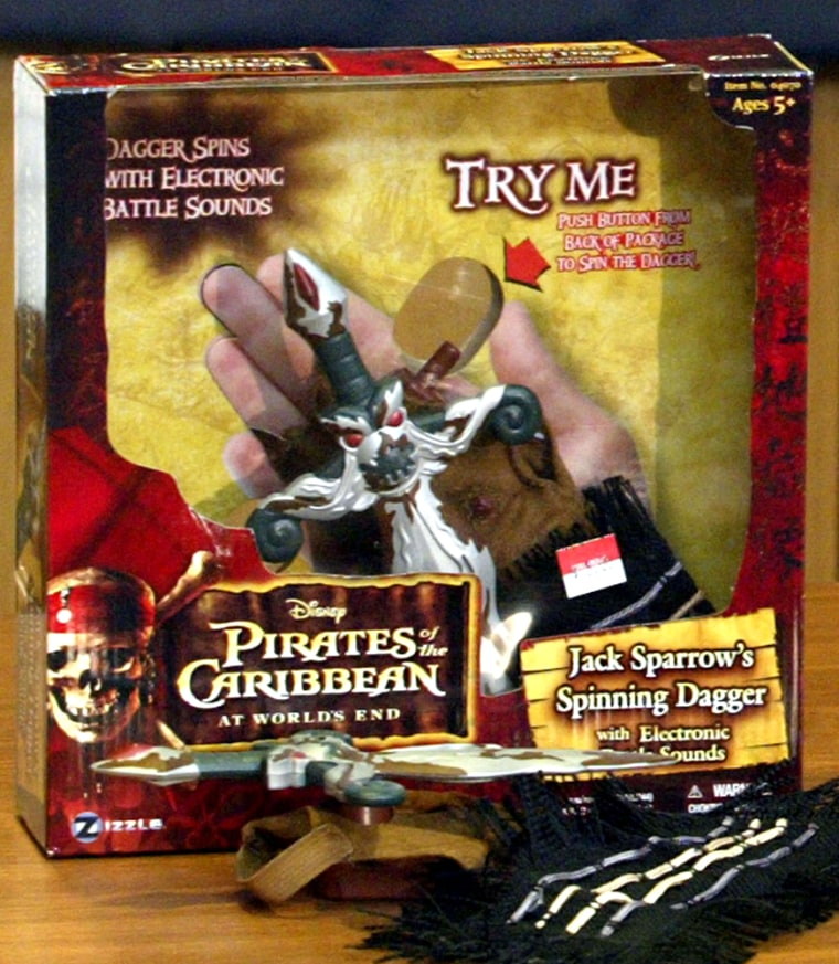"Jack Sparrow's Spinning Dagger, a toy inspired from the popular ""Pirates of the Caribbean"" movie trilogy, is one of the 10 worst toys, according to the group World Against Toys Causing Harm."