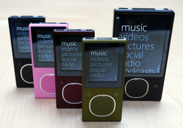 The new 8-gigabyte Microsoft ZUNE in four colors and the new 80-gigabyte ZUNE model are displayed in Redmond