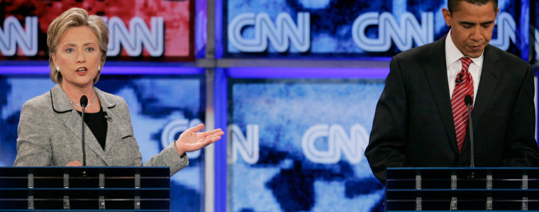 Image: Democratic presidential hopefuls, Sen. Hillary Rodham Clinton, and Sen. Barack Obama, D-Ill., face off during a debate at UNLV.